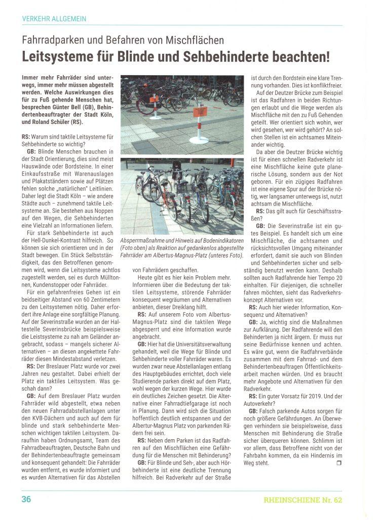Zeitungsausschnitt Interview in Rheinschiene 62_2018