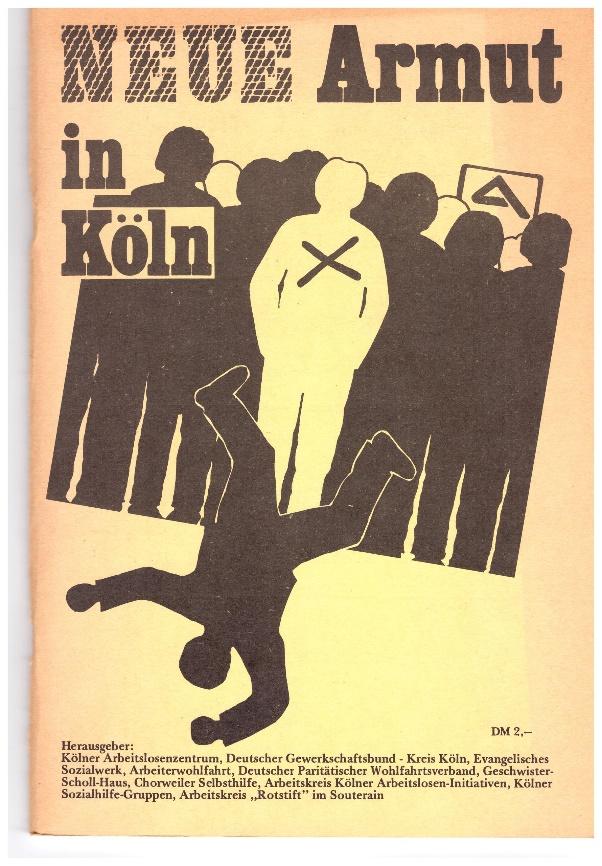 NEUE Armut in Köln. Ein Mann fällt aus einer Reihe von Menschen heraus.